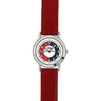 Reflex Time Teacher White Dial Quartz Kids Red Pu Strap Watch 105009CC