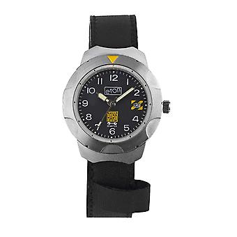 Eton Unisex Black Leather Strap Watch, Day Date, Mid Size Case: 38mm - 1430G-BK