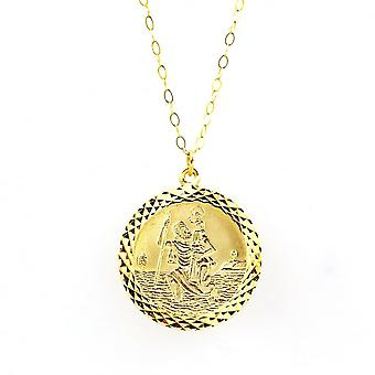 Eternity 9ct Gold Large Round Diamond Cut St Christopher Pendant And 16'' Trace Chain