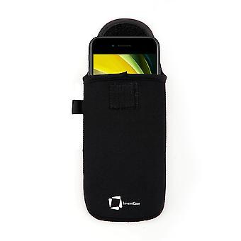 InventCase Neopren Pouch Case Cover med Karbinhake för Apple iPhone SE (2020) - Svart