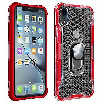 Boîtier bi-matériel avec porte-anneau rotatif en métal pour Apple iPhone XR - Rouge