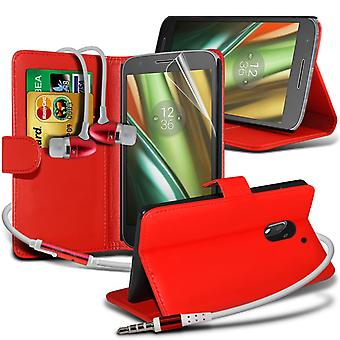 i-Tronixs Motorola Moto E3 / Motorola Moto E 3rd generation 2016 PU Leather Wallet Flip Case + Earphones -Red