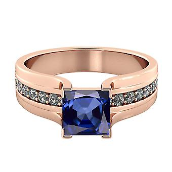 Blue Sapphire 2.20 ctw Ring with Diamonds 14K Rose Gold Bridge Channel set Princess