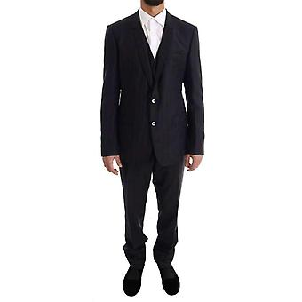 Dolce & Gabbana kék csíkos egysoros 3 darabos öltöny -- KOS1111536