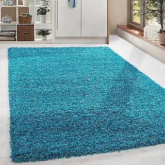 Shaggy High Flor LongFlor Tapijt Soft Living Room Rug Kleur Turquoise Monochrome