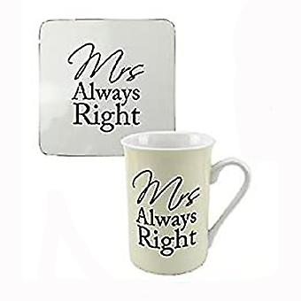 Mrs Always Right Mug & Coaster - Fine China Fun Gift Wife Partner