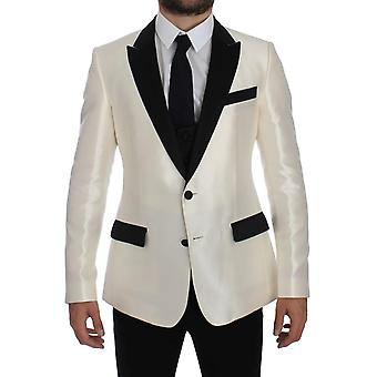 Dolce & Gabbana White Black Silk 2 Piece Blazer