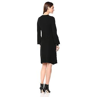 Lark & Ro Women's Mock Neck Fit and Flare Sweater Dress with Bell Sleeves, Bl...