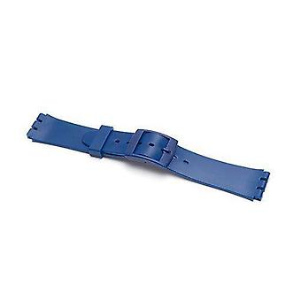 Swatch style resin watch strap blue with plastic buckle size 17mm