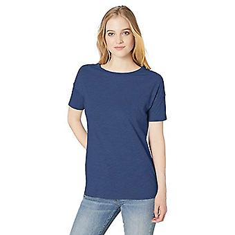 Marca - Daily Ritual Women's Lightweight Lived-In Cotton Short-Sleeve Drop-Shoulder Tunic, Indigo Heather, X-Large