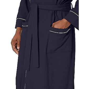 Essentials Men's Waffle Shawl Robe Sleepwear, -Navy, M/L
