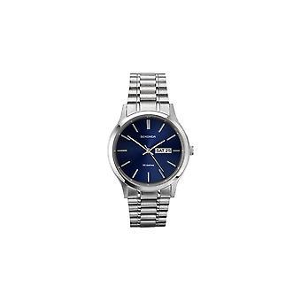 Sekonda Mens Ronde Blauwe Datum Wijzerplaat Roestvrij stalen armband horloge 3728