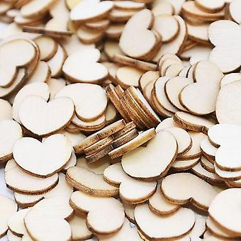100pcs Mini Wooden Love Heart Wedding Table Scatter Diy Craft Accessories -