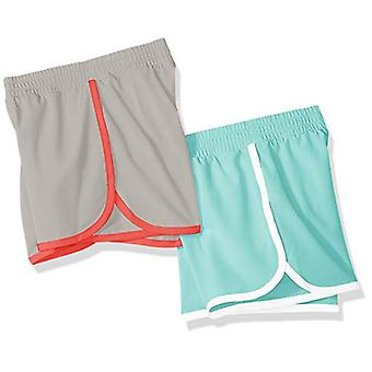 Essentials Big Girls' 2-Pack Active Running Short, Aqua/Grey, XL