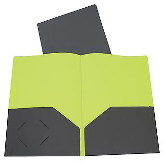 34701BNDL10EA, Dos Tonos de Dos Tonos De dos bolsillos Super Peso Pesado Poly Portfolio, Gris/Verde (Conjunto de 10 Carpetas)