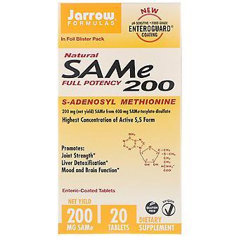 Formules Jarrow, SAM-e naturel (S-Adenosyl-L-Méthionine) 200, 200 mg, 20 Entérique