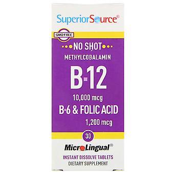 Superior Source, B-12, B-6 & Folic Acid, 30 MicroLingual Instant Dissolve Tablet