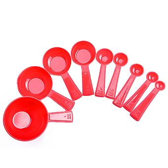 9PCS kitchen Cooking Measuring Cups and Spoons Red