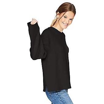 Brand - Daily Ritual Women's Terry Cotton and Modal Boxy Long Square Sleeve Top, Black, X-Small
