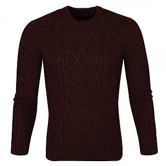 Superdry COSuperdry Jacob Crew Neck Cable Knit Jumper Burgundy Twist 3UE