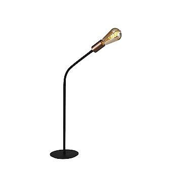 Flexible Table Lamp, 1 Light E27, Satin Black, Brushed Copper