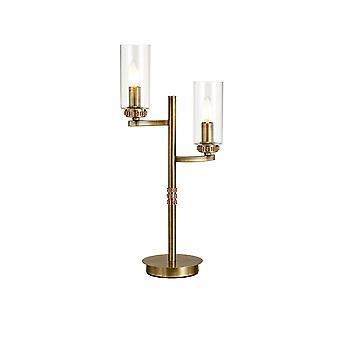 Lampada da tavolo, 2 x E14, Ottone antico