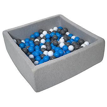 Poço de bola quadrada 90x90 cm com 200 bolas brancas, azuis e cinzas