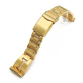 Bracciale orologio Strapcode 22mm rasoio retrò 316l fascia orologio in acciaio inox per seiko nuove tartarughe srpc44, pieno ip oro v-chiusura