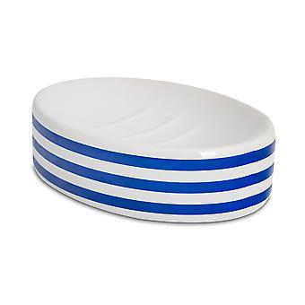 Soap Dish - Glazed Ceramic Bathroom Sink Holder Saver - Navy Stripe