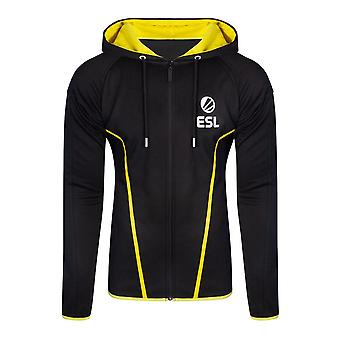 ESL Logo TEQ Full Length Zipper Hoodie Male Medium Black/Yellow (HD406622ESL-M)