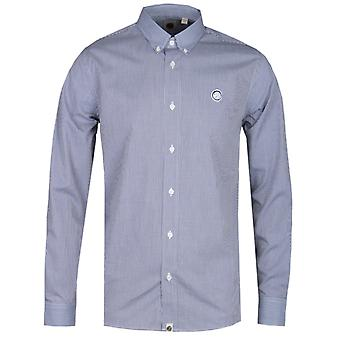 Pretty Green Classic Fit Fine Check Navy Shirt
