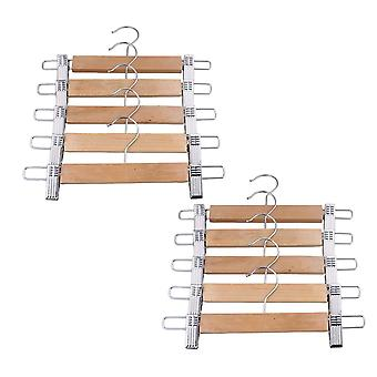 10Piece 28cm Wood Hangers with Adjust Clips Clothes Hangers
