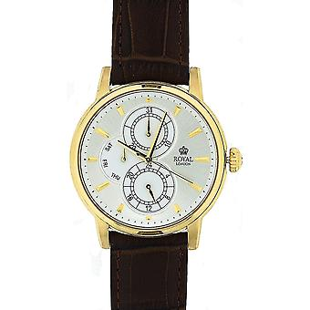 Royal London heren Silver Dial Subdials bruin Leather Strap Watch 41040-03