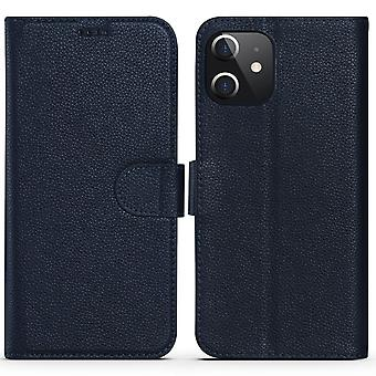 For iPhone 12 Pro/12 Case Fashion Cowhide Genuine Leather Wallet Cover Blue