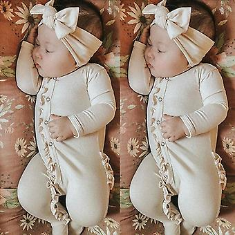 Newborn Clothes Baby Girl Boy Jumpsuit Footies Long Sleeve Button Ruffles Solid