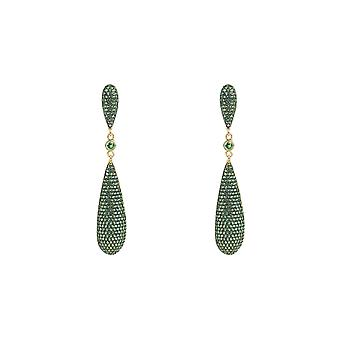 Green Emerald CZ Large Drop Statement Earrings Gold 925 Silver Wedding Big Long
