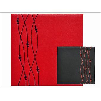 Home Living Coasters Faux Leather Red + Black Wavy x 4