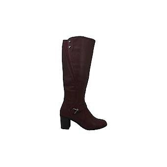 Einfache Straße Frauen Format Leder Mandel Toe Knie High Fashion Stiefel