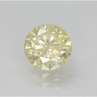 Cert 0.64 Carat Fancy Yellow SI2 Round Brilliant Enhanced Natural Diamond 5.37mm