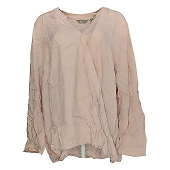 Motto Women's Plus Top Pink Tunic Blouse Rayon Long Sleeve V-Neck 648-493
