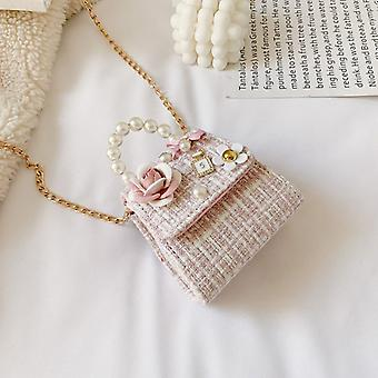 Baby Girls Messenger Pearl Chain Bags, Bowknot Hand / schouder Crossbody Tassen