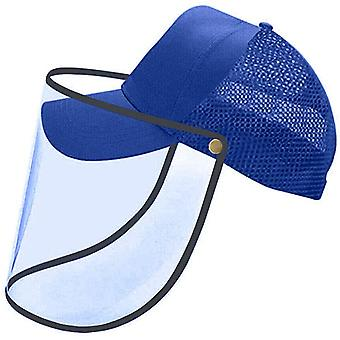 (Pack of 1) (Blue) Hat with Plastic Face Cover/Baseball Cap with Face Shield Anti-Saliva Eye Protective Sun Protection for Unisex Outdoor Sports Fishing