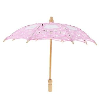 Vintage Mini algodón encaje bordado sol sombrilla paraguas boda flor de novia