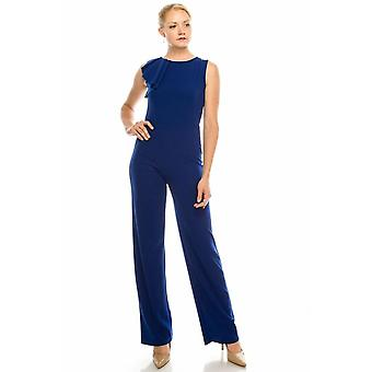 Cobalt Sleeveless Jumpsuit With A Chic Pleated Ruffle