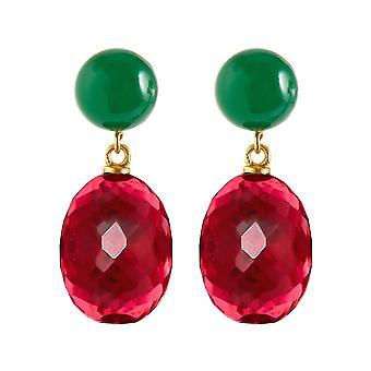 Gemshine Ohrringe rote Quarz Ovale und Chalcedon Cabochons. 925 Silber vergoldet