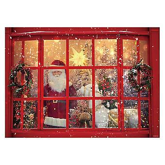 Allenjoy 7x5ft καλά Χριστούγεννα Άγιος Βασίλης σκηνικό για τη φωτογραφία χειμώνα κόκκινο παράθυρο νιφάδες χιονιού gif