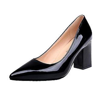 Kvinnor Pumpar Högklackat, Patent Läder Tjock Med Spetsiga Single Sandaler