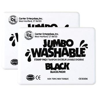 Jumbo Washable Unscented Stamp Pad, Black, Pack Of 2