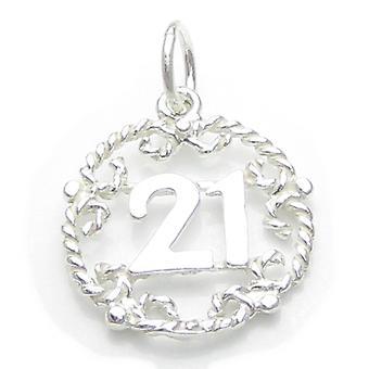 21e Brithday Sterling Silver Charm Pendentif .925 X 1 Anniversaires Charmes - 4903