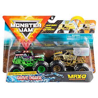 2-pack Hot Wheels Monster Jam Grave Digger & Max-D Toy Car 9cm